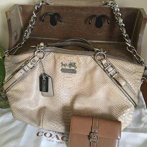 COACH 16346 Madison Sophia Beige Leather Satchel